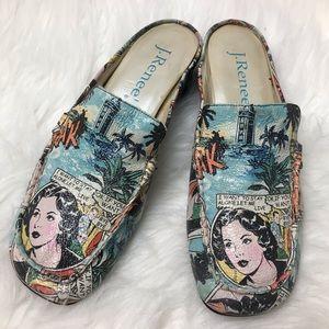 J Renee Comic Book Loafers Slide Shoes